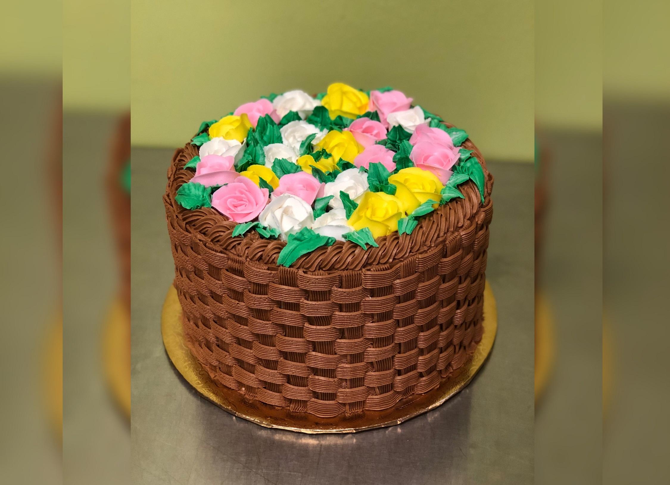 Basket Weave Flower Cake