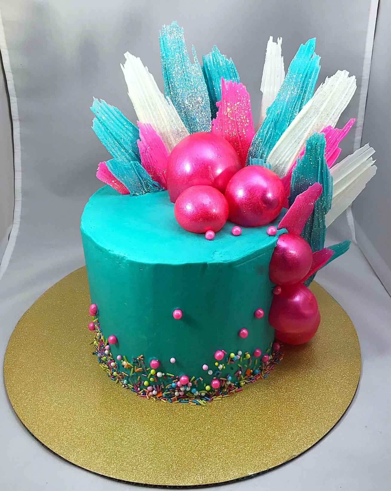 Corks Confections Gelatin Bubbles Cake With Chocolate Feathers W Liz BYOB