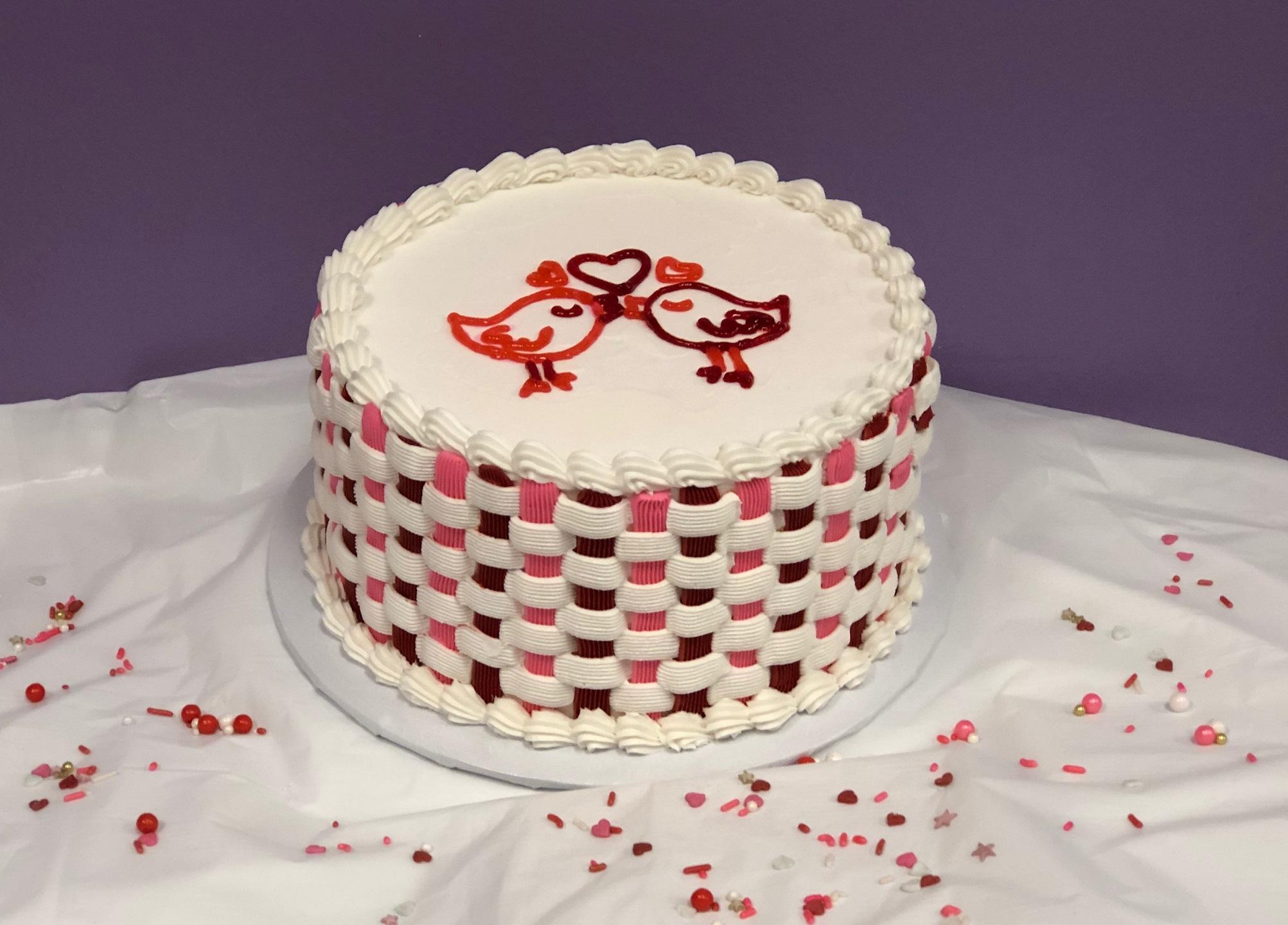 Basket Weave Valentine Cake