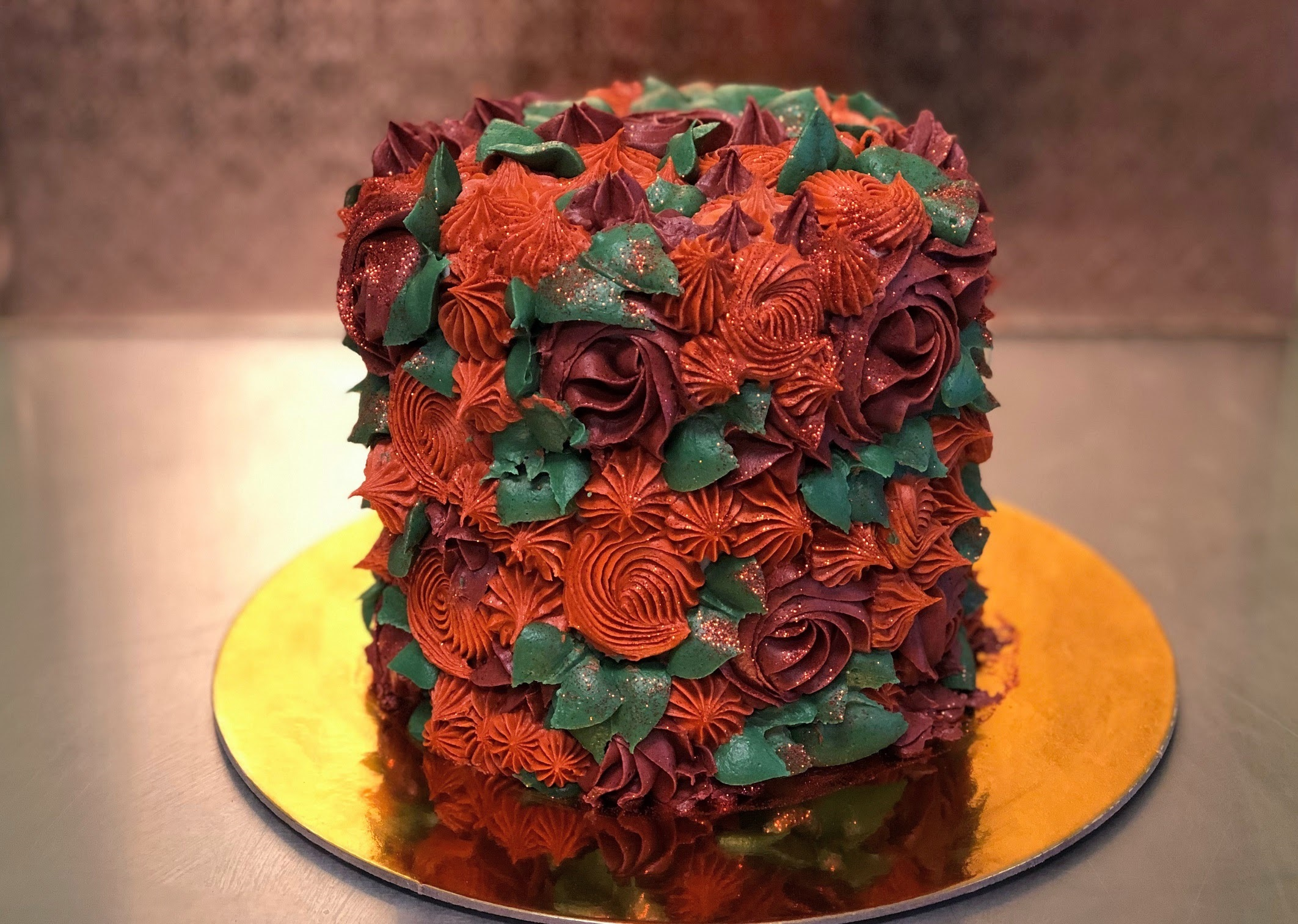 Corks & Confections: Fall Flower Cake