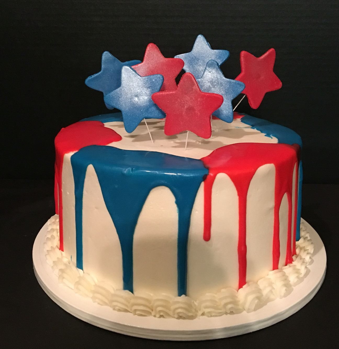 Red, White, And Blue Drip Cake