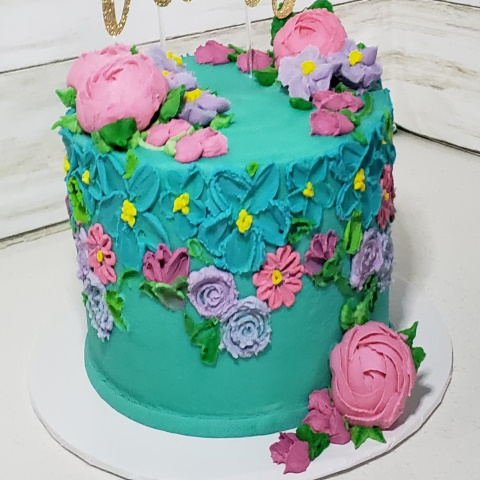 Painted Buttercream Flowers Cake